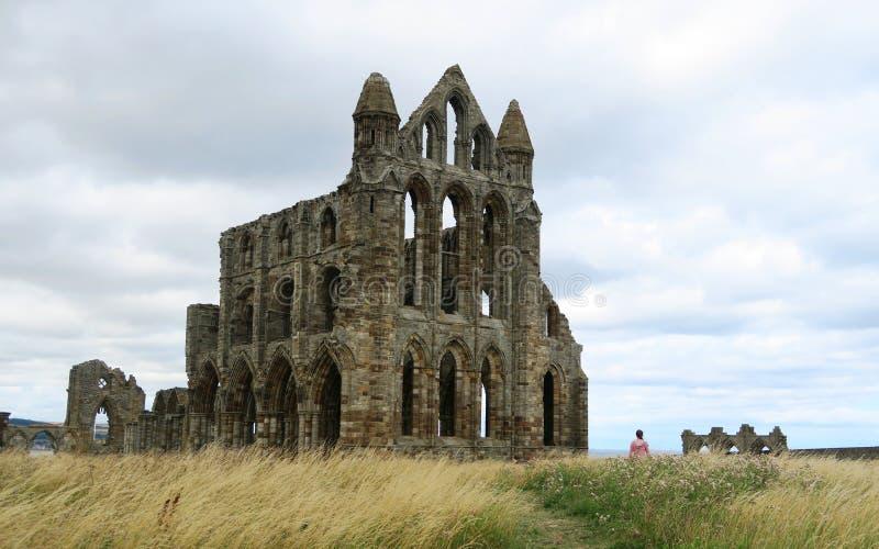 Whitby Abbey - ruínas da igreja gótico acima da costa de mar em Inglaterra fotos de stock