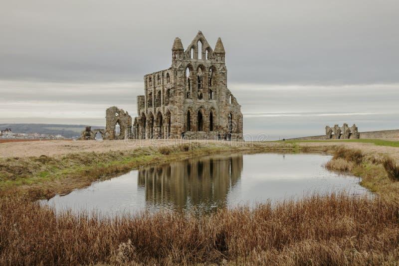Whitby Abby, Yorkshire, Inglaterra - as sobras e a reflexão fotografia de stock royalty free