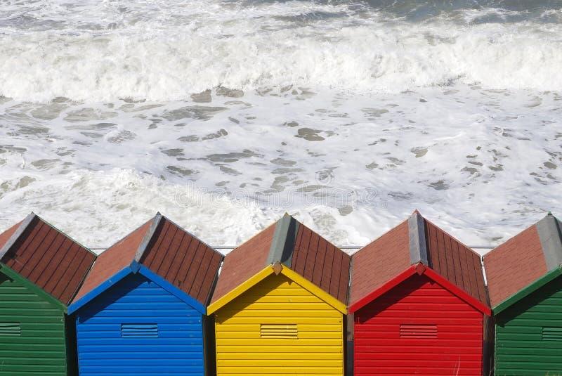 Whitby beach huts royalty free stock photos
