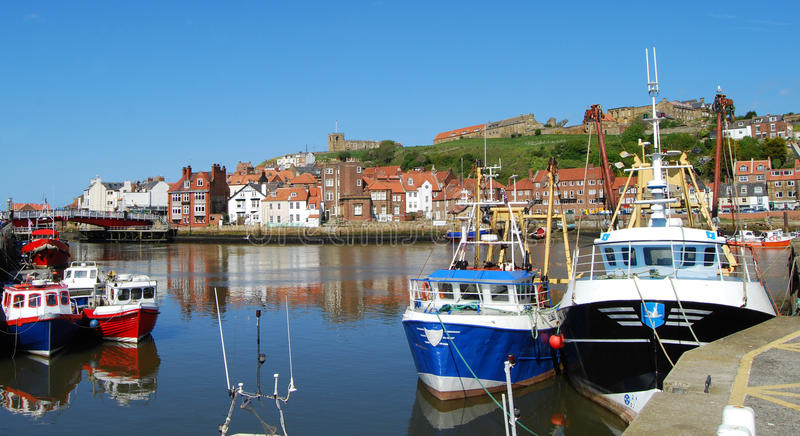 Whitby fishing town and Abbey, North Yorkshire. Whitby Abbey is a ruined Benedictine abbey overlooking the North Sea on the East Cliff above Whitby in North stock photos