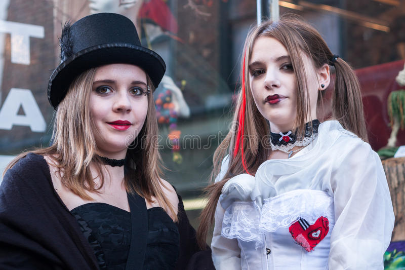 Whitby Goth Girls royalty free stock photography