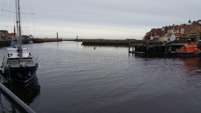 Whitby Harbour stockbilder