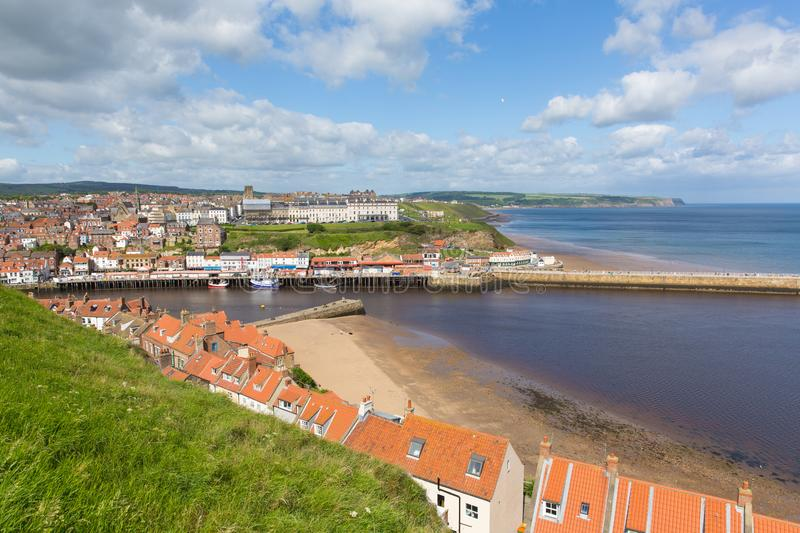 Whitby North Yorkshire uk seaside town and coast view. Whitby North Yorkshire England uk seaside town and coast view royalty free stock photography