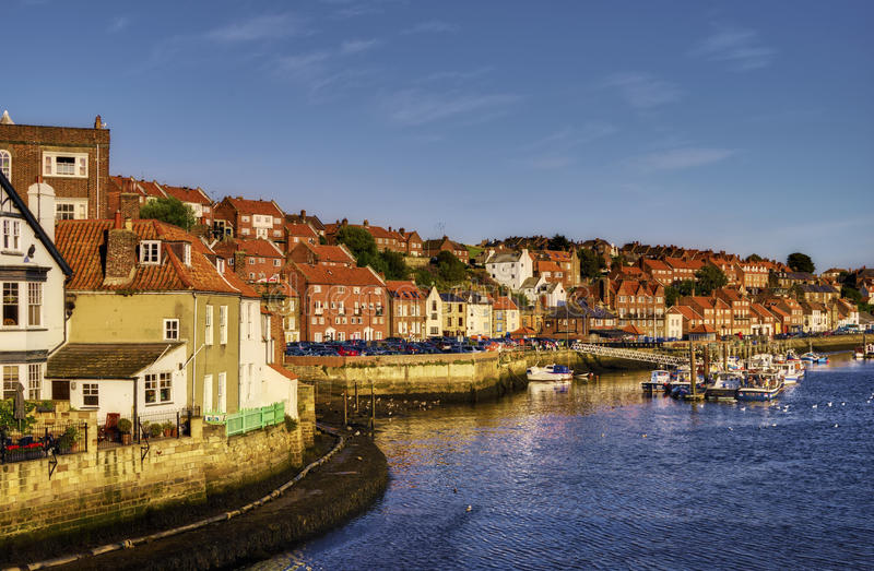 Whitby town waterfront. Scenic view of Esk river and Whitby town waterfront, North Yorkshire, England royalty free stock photo