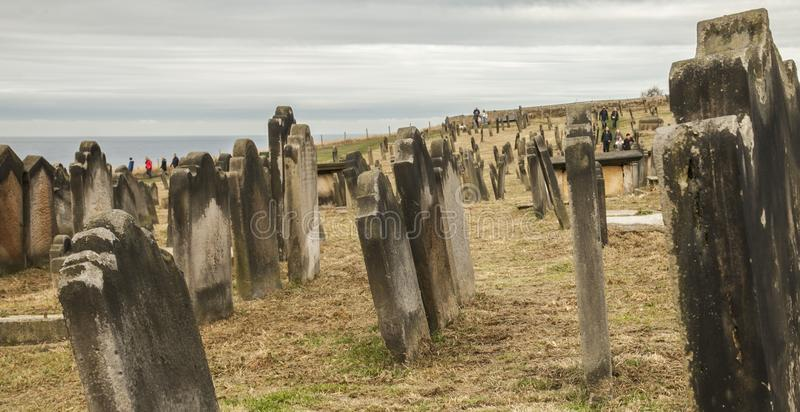 Whitby, Yorkshire, England - the cemetry. royalty free stock images