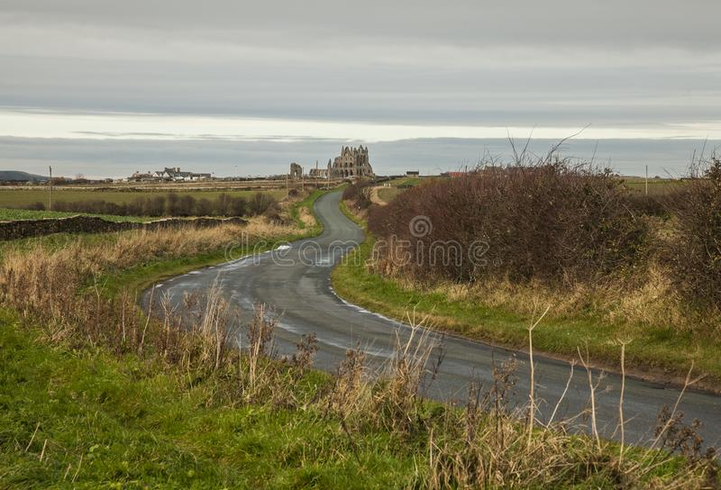 Whitby, Yorkshire - a view of the Abby from a distance. stock images