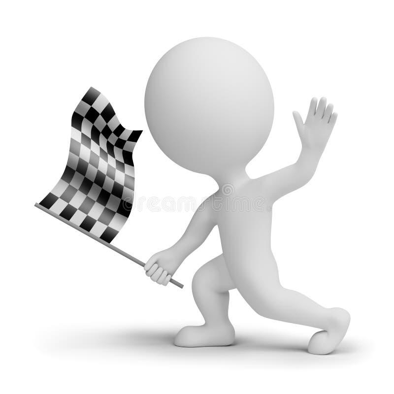 whitch pequeno dos povos 3d uma bandeira checkered ilustração royalty free