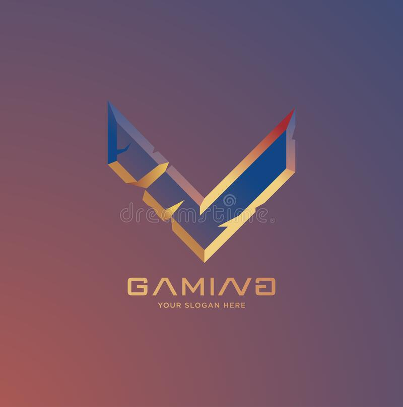 Initial Letter V Gaming Esports Style Logo Template Stock