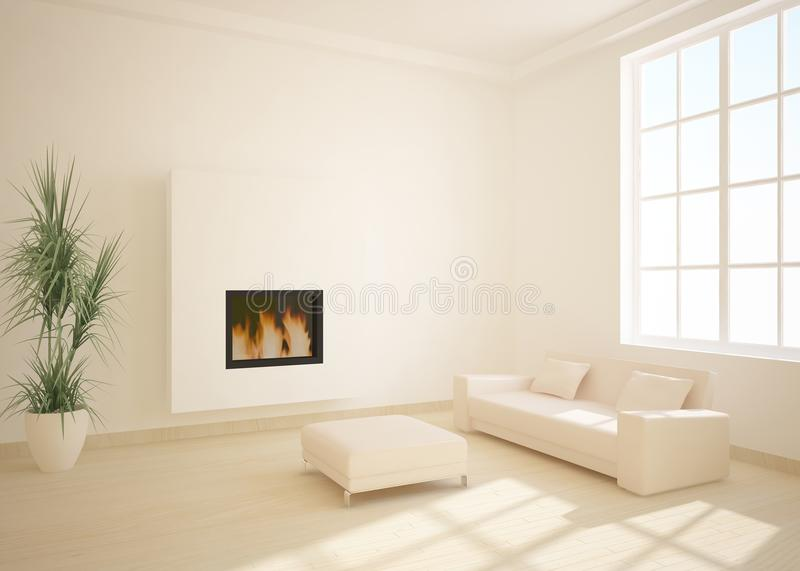 White 3d interior with fire vector illustration