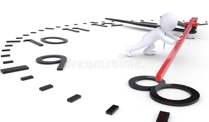 Download White 3d Man Pushing Second Hand Watches Stock Illustration - Image: 28356169