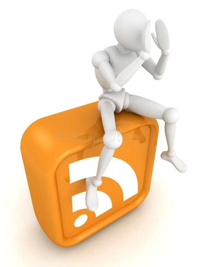 White 3d man sitting on orange RSS icon royalty free illustration