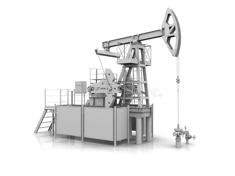 Download White 3D Model Of The Oil Pump-jack Stock Illustration - Image: 23888793