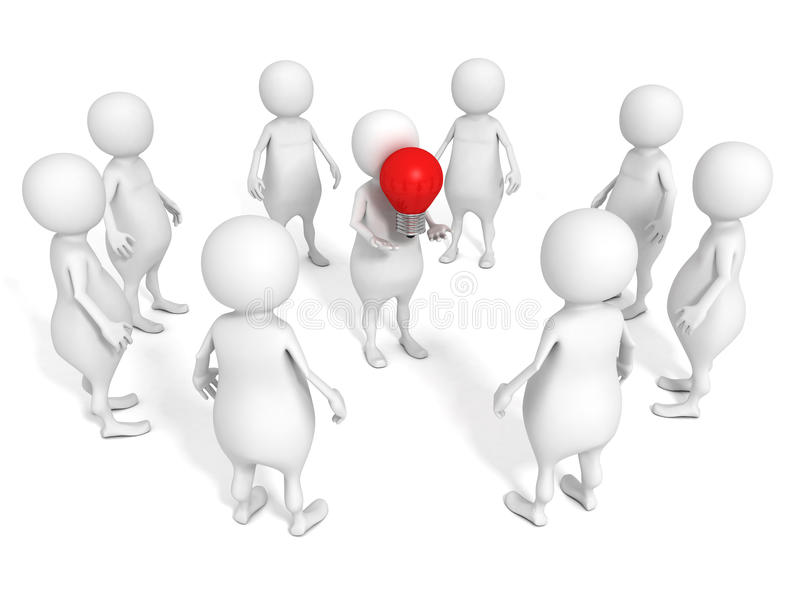 White 3d people team group with red idea concept light bulb leader holding. 3d stock illustration