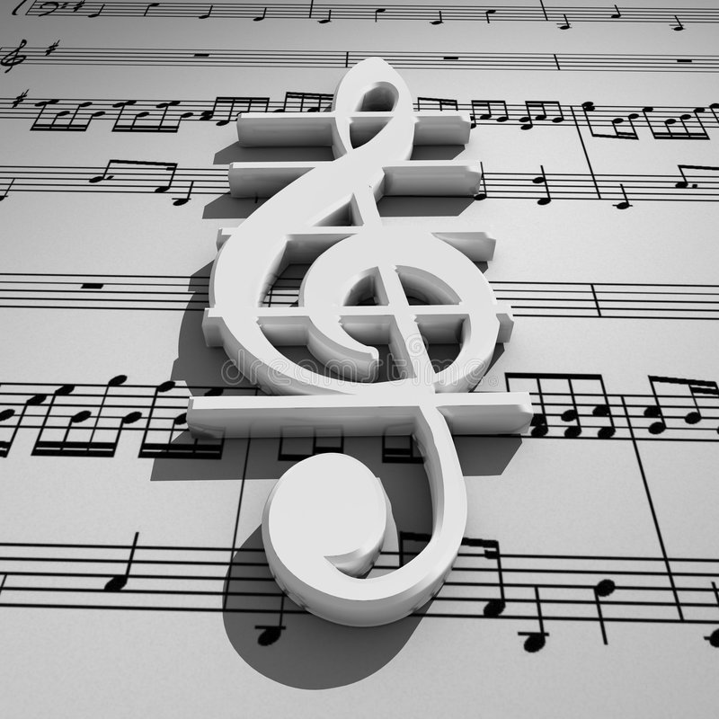 Download White 3d Treble Clef With Shadow On Staff Backgrou Stock Photo - Image: 7493070
