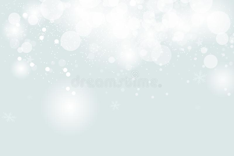White abstract, Bokeh background, snowing, celebration seasonal holiday, winter concept vector illustration royalty free illustration