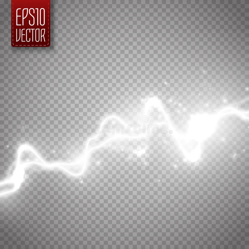 White abstract energy shock effect. Electric discharge . Vector Lightning. White abstract energy shock effect with many glowing particles. Electric discharge on royalty free illustration