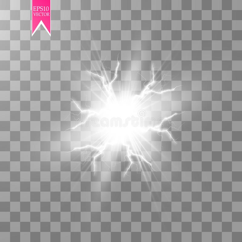 White abstract energy shock explosion special light effect with spark. Vector glow power lightning cluster. Electric. Discharge on transparent background. High royalty free illustration
