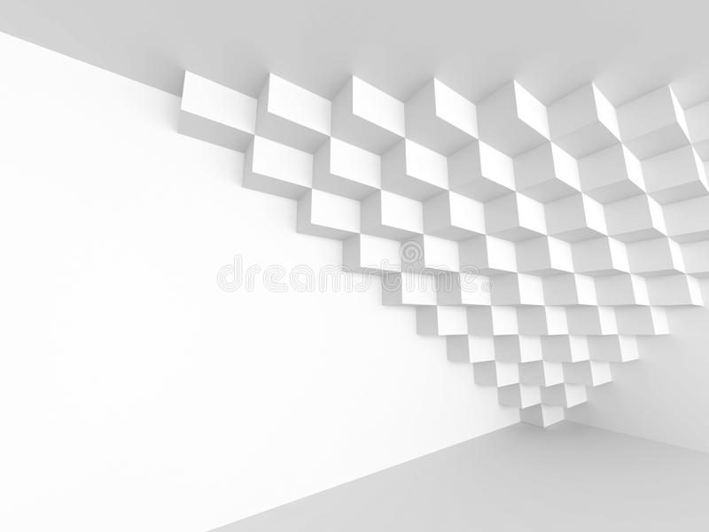 White Abstract Futuristic Architecture Background. Cubes Geometric Design. 3d Render Illustration royalty free stock photo