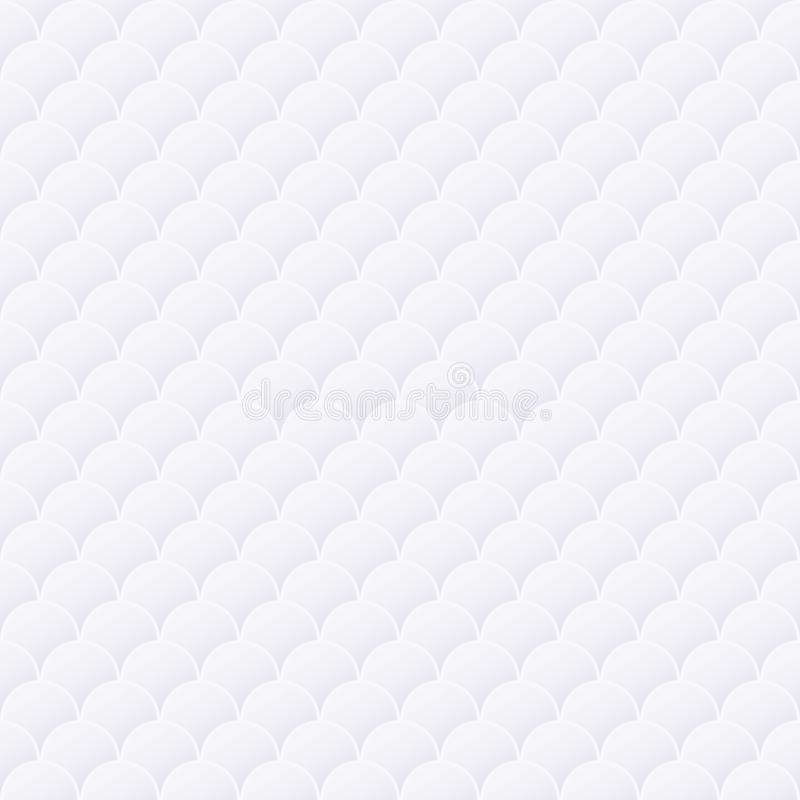 White abstract geometric background texture with circles, seamless stock illustration
