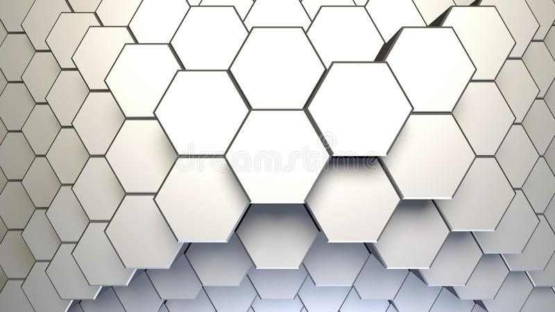 White abstract hexagonal background. 3d render illustration.  vector illustration