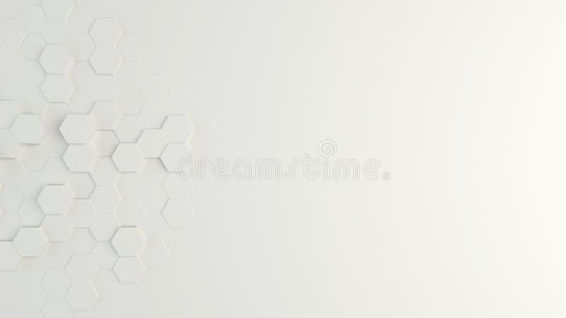 White abstract hexagonal background. 3d render illustration.  stock illustration