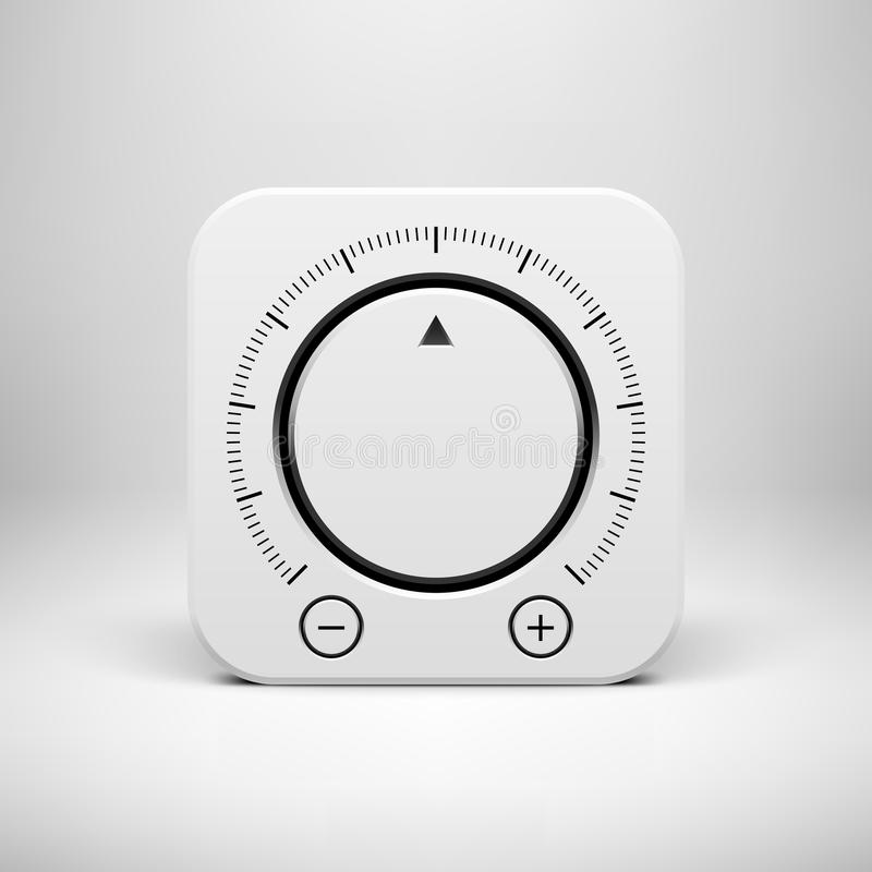 White Abstract Icon with Volume Knob Button stock illustration