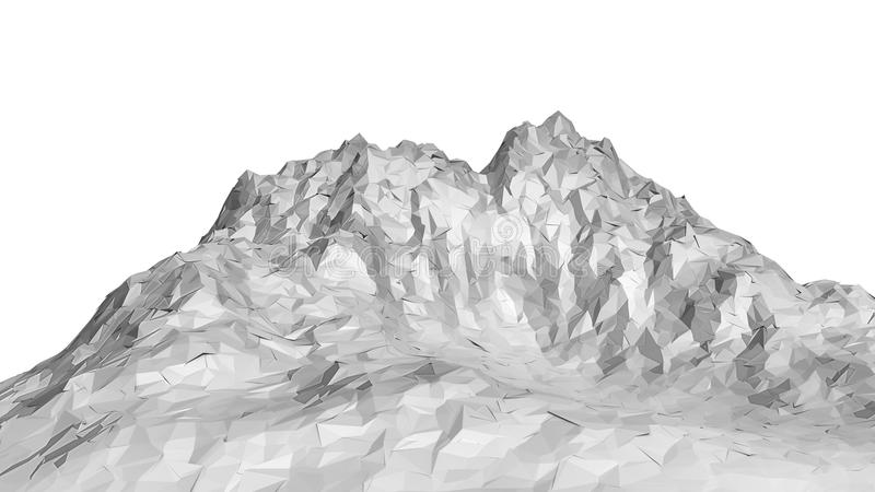 White abstract polygonal mountain. 3D Illustration. Isolated on white royalty free stock image