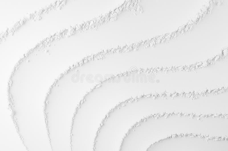 White abstract soft smooth striped plaster background with curved waves. stock photos
