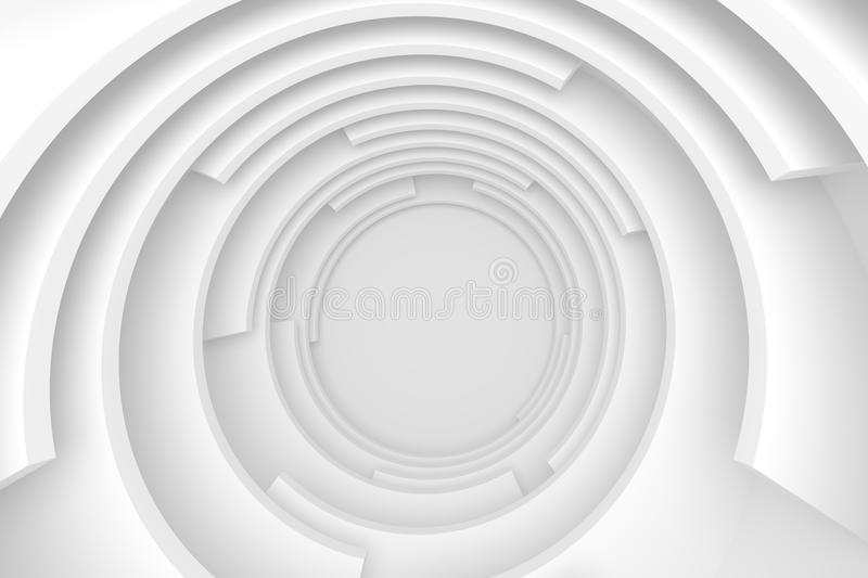 White Abstract Tunnel. Circular Modern Design royalty free illustration