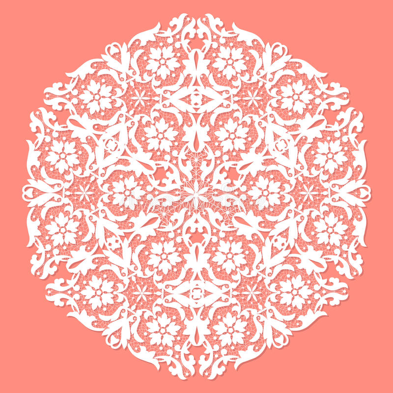 White ace doily. White openwork lace doily on a pink background royalty free illustration
