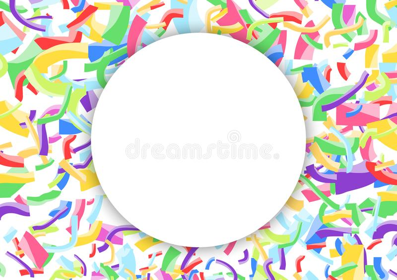 White advertising blank circle over colorful bright confetti background stock illustration