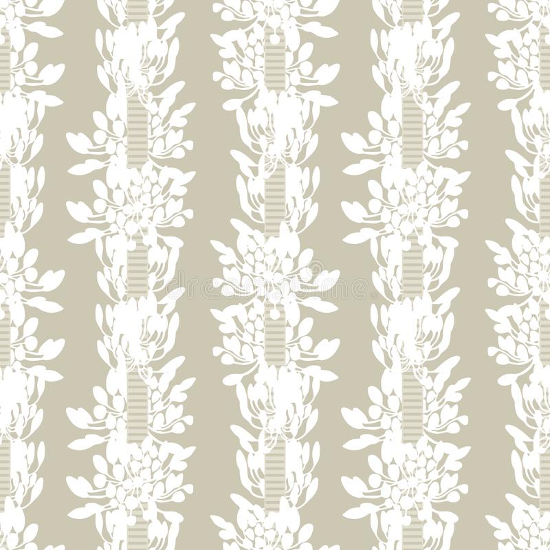White african lily flower stripes with ribbon summer floral seamless vector pattern on beige background for fabric royalty free illustration