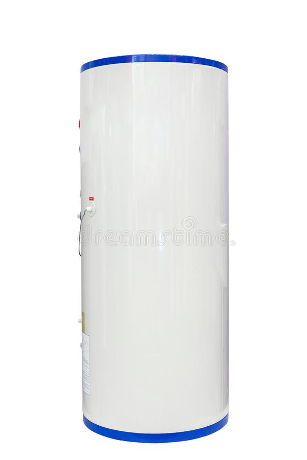 White air source heat pump water heater isolated on a white background. Including clipping path. stock photo