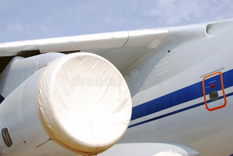White airplane engine, wing and tale royalty free stock image