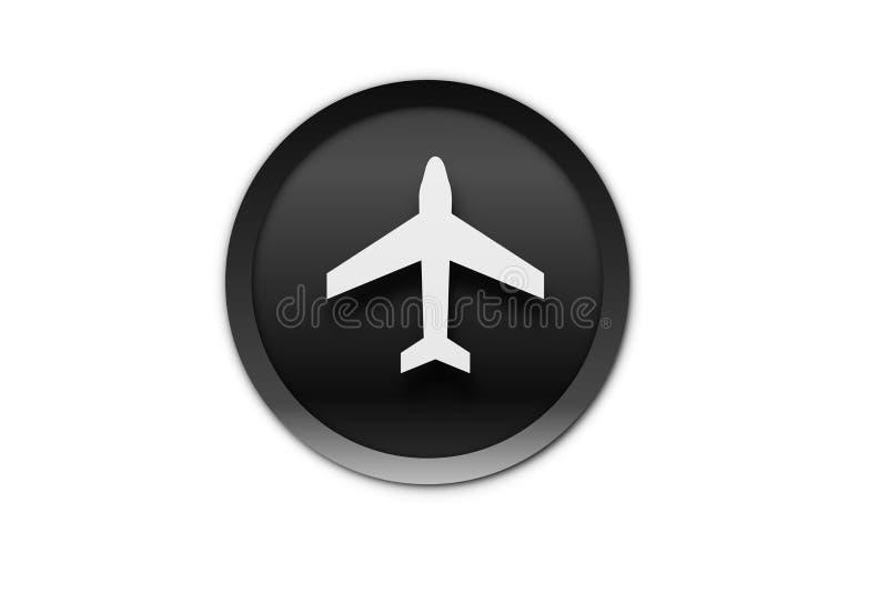 White airplane icon on the white background. Illustration design. Button, web, black, transportation, element, ivon, flat, creative, graphic, metal, circle vector illustration