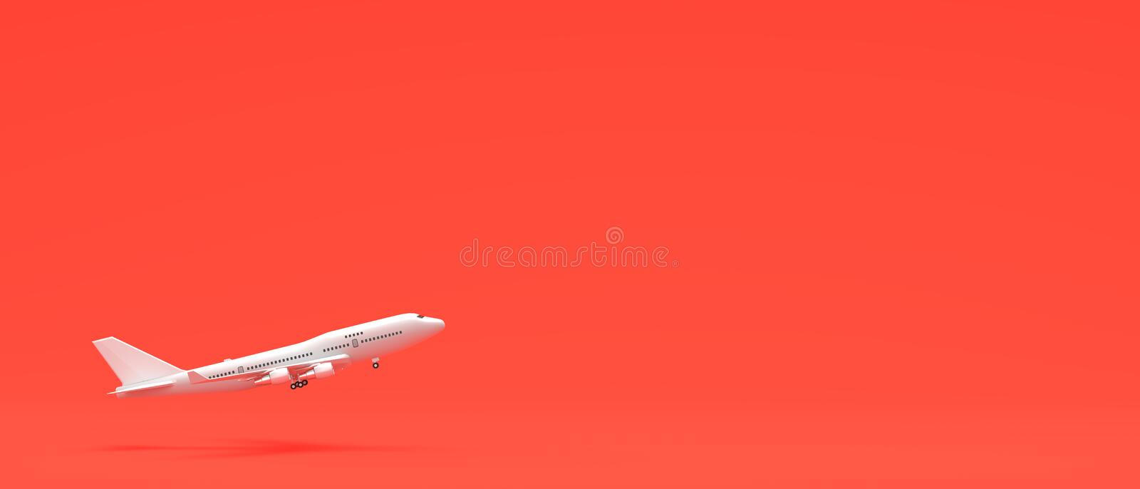 White airplane isolated on coral pink background. 3D illustration.  stock illustration