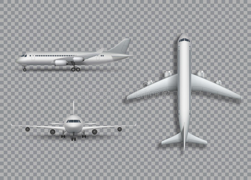 Download White Airplane Mock Up Isolated Aircraft Airliner Realistic 3d Illustration On Transparent Background