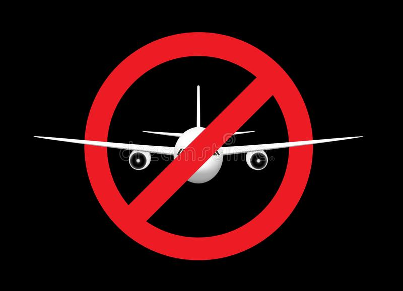 White airplane in th prohibition sign, front view, isolated on the black background, horizontal vector illustration. White airplane in the prohibition sign royalty free illustration