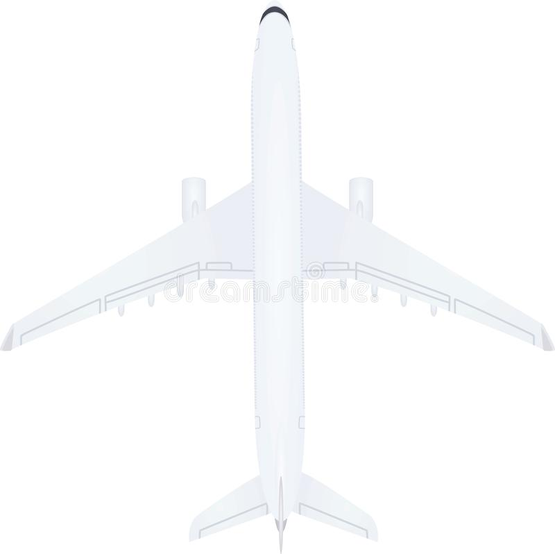 White airplane top view. Vector illustration royalty free illustration