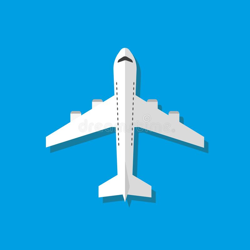 White airplane vector illustration, flat style. Vector. royalty free illustration