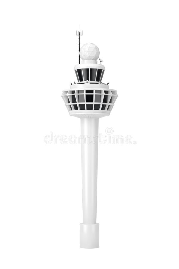 Free White Airport Air Traffic Control Tower Building In Clay Style. 3d Rendering Royalty Free Stock Photography - 217316057