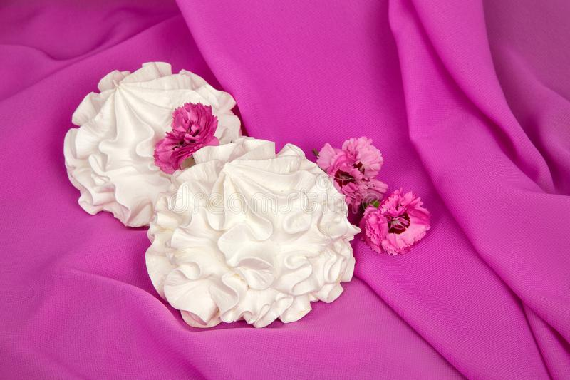 White airy bise on pink fabric with forget-me-nots. White airy bise on pink fabric with pink forget-me-nots stock photos