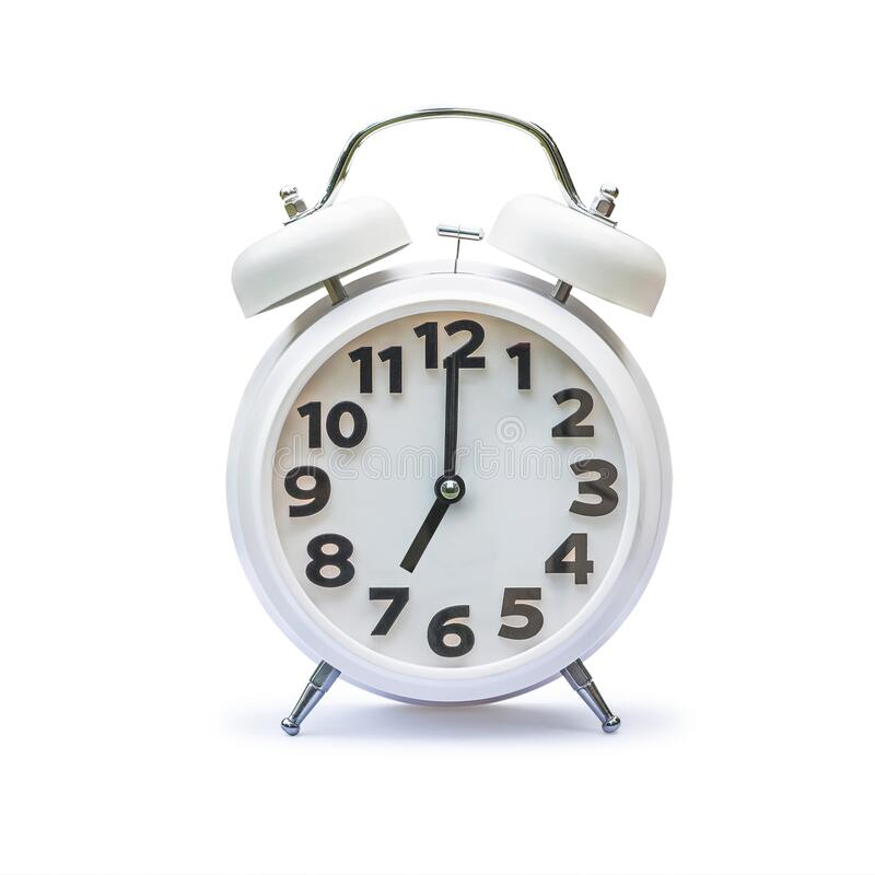 Free White Alarm Clock At 7 Seven O\ Clock Isolated On White Background (clipping Path) Royalty Free Stock Photography - 201905137