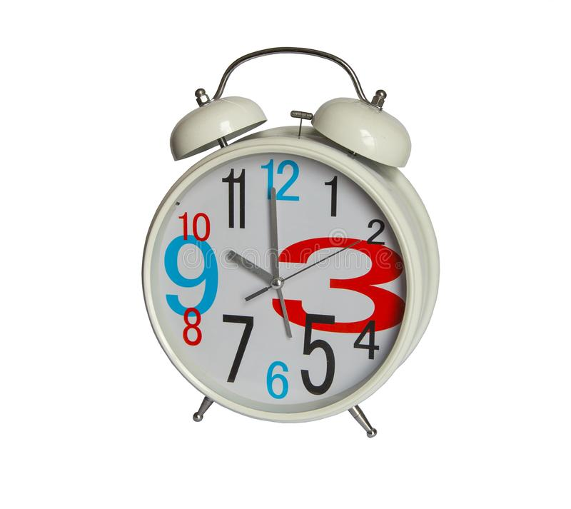 White alarm clock. With big hour numbers isolated on white background stock photos
