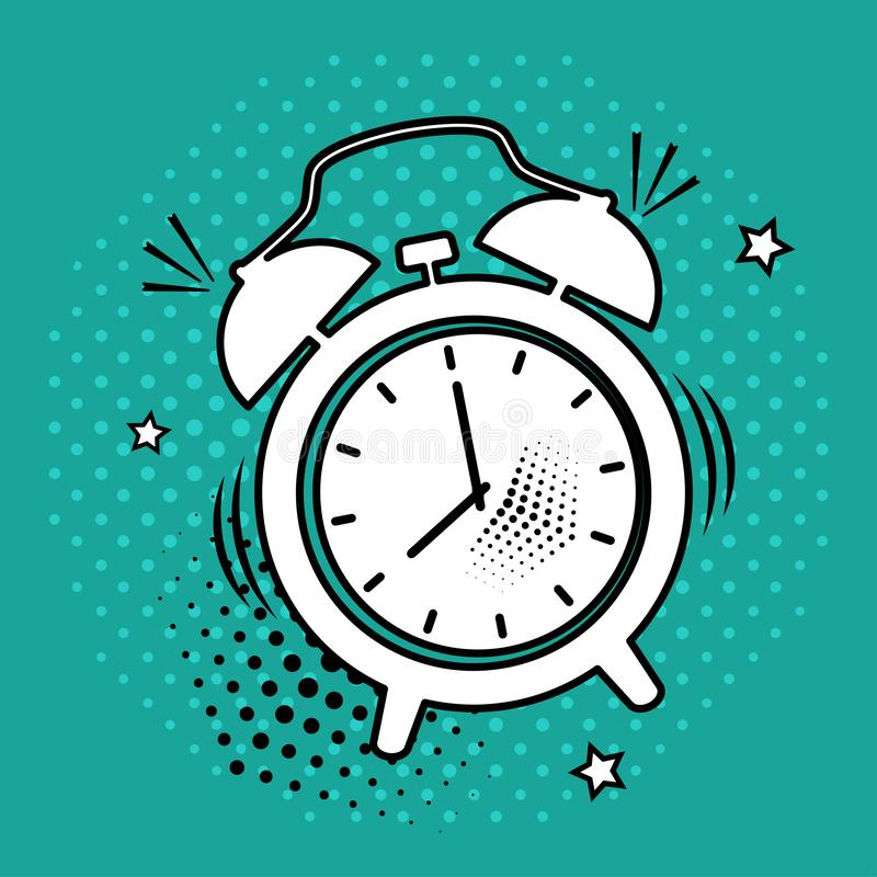 White alarm clock icon on green background in pop art style. Vector illustration royalty free illustration