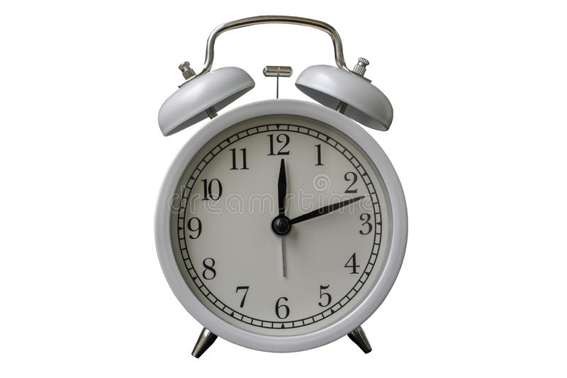 White alarm clock. Isolated on white background with clipping path stock photo