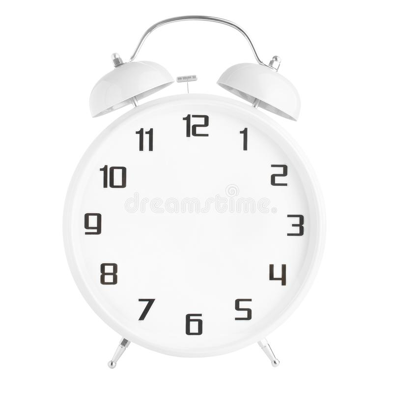 White alarm clock with no hands isolated on white. Background royalty free stock photography