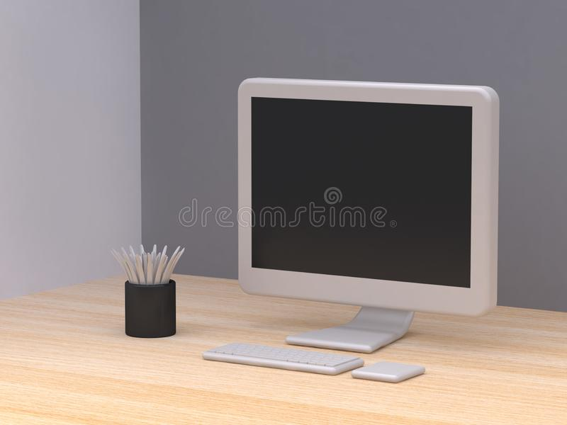 White all in one computer  black tree pot cartoon style on wood floor abstract minimal grey background 3d render vector illustration