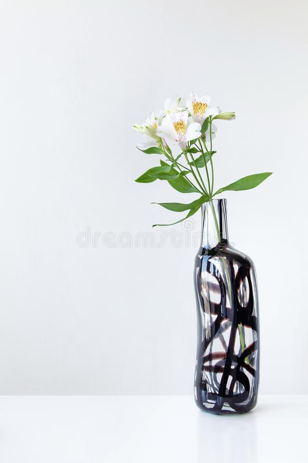 White alstroemeria in glass vase on white table royalty free stock images