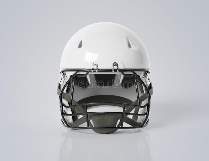 White American football helmet isolated on grey mockup 3D rendering. White American football helmet isolated on grey background mockup 3D rendering royalty free illustration